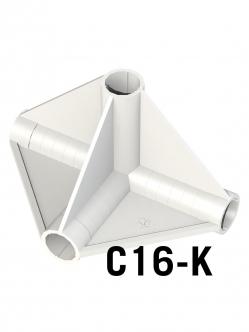 SJ sátor összekötő sarok idom 4 vég 16 mm